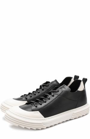 Кожаные кеды на шнуровке с контрастной отделкой Artselab. Цвет: черный