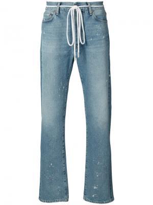 Мешковатые потертые джинсы Off-White. Цвет: синий