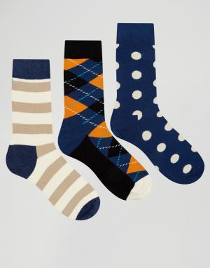 Happy Socks Набор из 3 пар носков с принтом HS By. Цвет: мульти