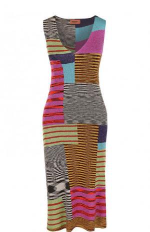 Приталенное вязаное платье-миди с V-образным вырезом Missoni. Цвет: разноцветный