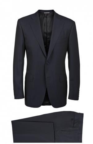 Шерстяной костюм в полоску Canali. Цвет: темно-синий