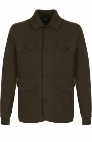 Шерстяной однобортный пиджак с накладными карманами Z Zegna. Цвет: темно-зеленый