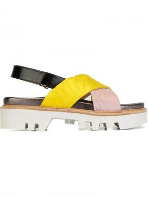 Сандалии колор-блок Antonio Marras. Цвет: жёлтый и оранжевый