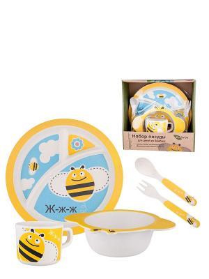 Набор детский Пчелка Ecowoo. Цвет: желтый