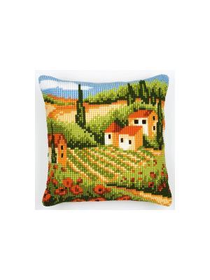 Набор для вышивания лицевой стороны наволочки Тосканский пейзаж 40*40см Vervaco. Цвет: зеленый, коричневый, оранжевый