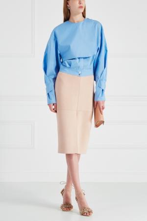 Хлопковая блузка Chapurin. Цвет: голубой