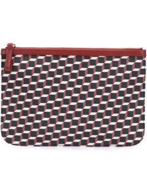 Клатч с кубическим принтом Pierre Hardy. Цвет: красный