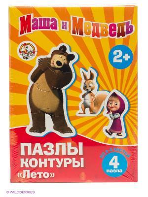 Пазл-контур. Маша и Медведь. медведь. Цвет: красный