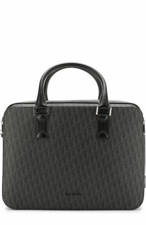 Комбинированная сумка для ноутбука с плечевым ремнем Dior. Цвет: темно-серый