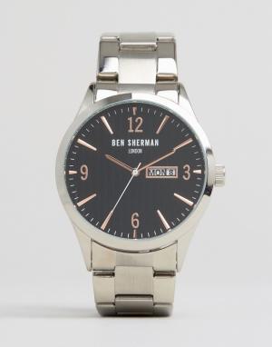 Ben Sherman Серебристые с черным часы-браслет. Цвет: серебряный