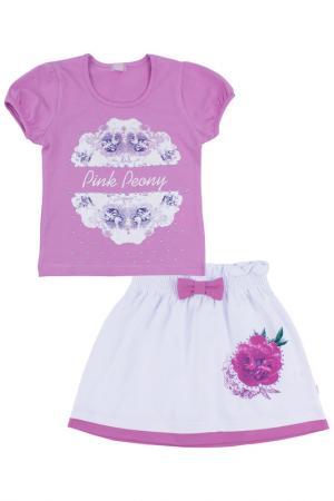 Комплект: джемпер, юбка Апрель. Цвет: розовый, белый, зеленый