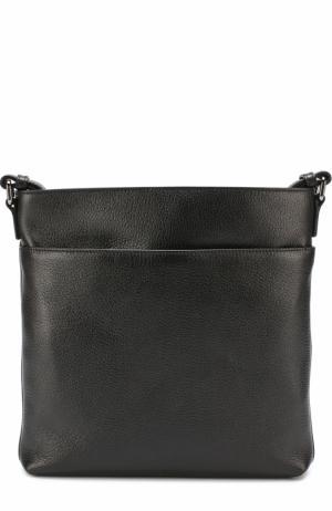 Кожаная сумка-планшет с внешним карманом на молнии Ermenegildo Zegna. Цвет: черный