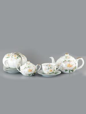 Чайный набор Белый шиповник Elan Gallery. Цвет: белый, зеленый