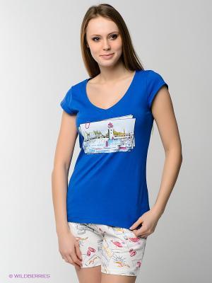 Пижама HAYS. Цвет: синий, молочный
