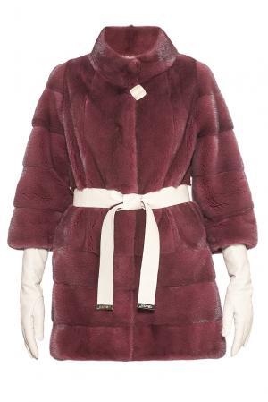 Шуба из меха норки KOPENHAGEN FUR с поясом и перчатками 181527 Gilberti. Цвет: красный