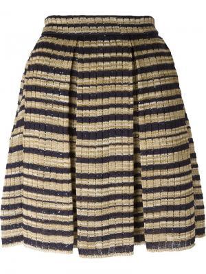 Трикотажная юбка в полоску Ermanno Scervino. Цвет: телесный