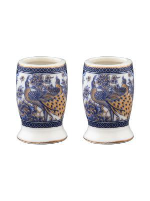 Набор из двух вазочек под зубочистки Павлин синий Elan Gallery. Цвет: белый, синий