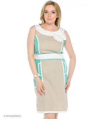 Платье TOPSANDTOPS. Цвет: бежевый, зеленый