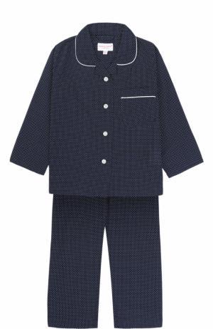 Хлопковая пижама с принтом Derek Rose. Цвет: синий