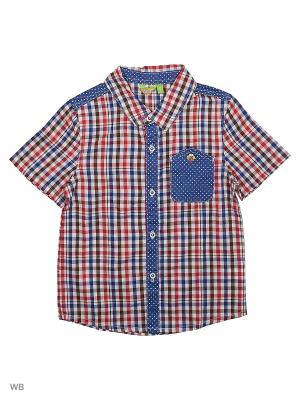 Рубашка Liguo. Цвет: синий, белый, красный