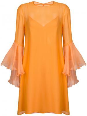 Платье с волановыми рукавами Galvan. Цвет: жёлтый и оранжевый