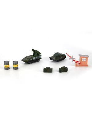 Набор из 2-х единиц военной техники, металлические, 7,5см, с аксессуарами. Технопарк. Цвет: зеленый, розовый