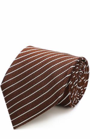 Шелковый галстук в полоску Tom Ford. Цвет: оранжевый
