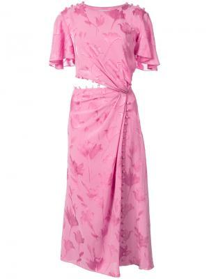 Платье с вырезными деталями Prabal Gurung. Цвет: розовый и фиолетовый