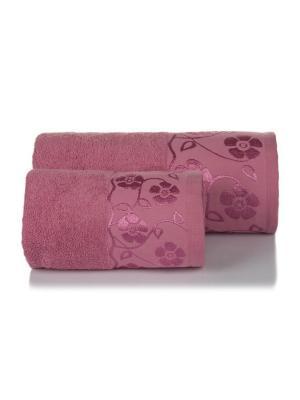 Набор махровых полотенец ФЛОРА цв. чайная роза 50х90+70х140 TOALLA. Цвет: красный