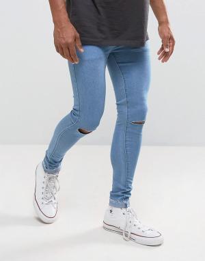 Criminal Damage Супероблегающие джинсы с дырками на коленях. Цвет: синий