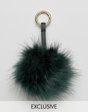 My Accessories Подвеска на сумку с помпоном из искусственного меха. Цвет: зеленый