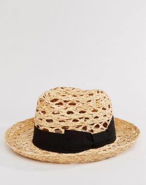 Catarzi Соломенная шляпа с черной лентой. Цвет: бежевый