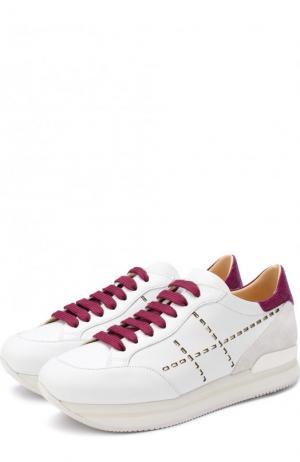 Комбинированные кроссовки на шнуровке Hogan. Цвет: фиолетовый