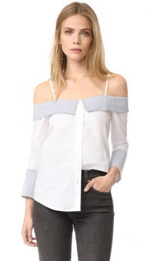 Рубашка с открытыми плечами ENGLISH FACTORY. Цвет: белый/синяя полоска
