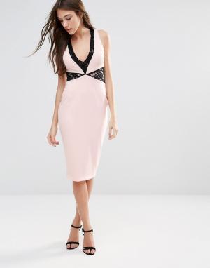 Hedonia Платье-футляр миди с кружевными вставками. Цвет: розовый