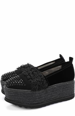 Текстильные ботинки с декором на платформе Baldan. Цвет: черный