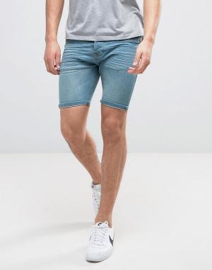 Brave Soul Светлые джинсовые шорты с потертостями. Цвет: синий