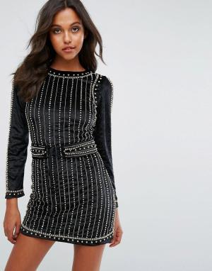 Starlet Бархатное платье мини с декоративной отделкой. Цвет: черный