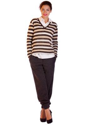 Пуловер BUONO. Цвет: коричневый, белый