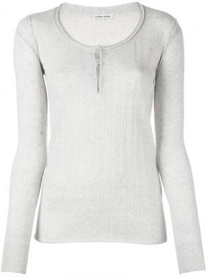 Прозрачная трикотажная блузка в рубчик Tomas Maier. Цвет: телесный