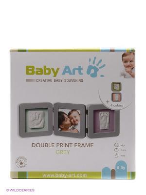 Рамочка тройная (светло-серая),подложка бирюзовая/фиолетовая Baby Art. Цвет: бирюзовый, фиолетовый