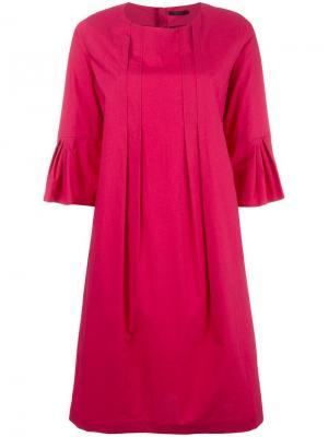 Платье с плиссировкой Odeeh. Цвет: розовый и фиолетовый