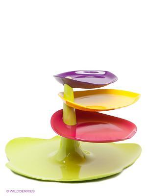Блюдо- этажерка Zak!designs. Цвет: зеленый, малиновый, фиолетовый, желтый