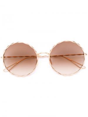 Солнцезащитные очки с круглой оправой Elie Saab. Цвет: металлический