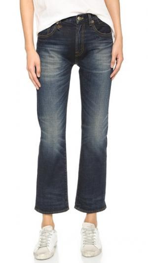 Прямые джинсы Bowie из денима с каймой R13. Цвет: золотистый индиго