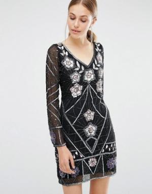 Frock and Frill Декорированное платье мини. Цвет: черный