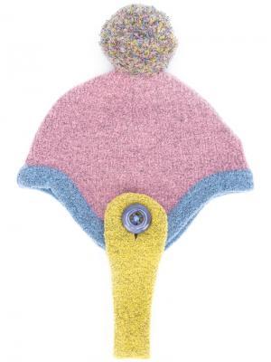 Шапка-бини с помпоном Minjukim. Цвет: розовый и фиолетовый