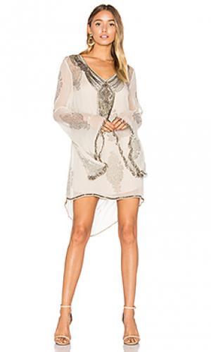 Мини платье getty Haute Hippie. Цвет: серый