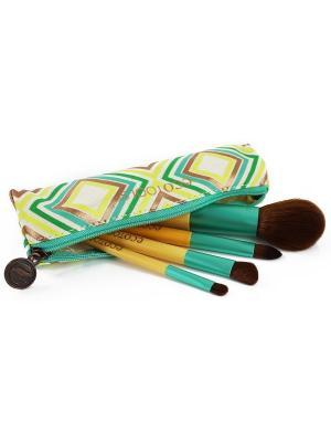 Дорожный набор кистей Boho Luxe Travel Set Ecotools. Цвет: золотистый,коричневый