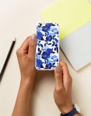 SIGNATURE Чехол для Iphone 6 с цветочным принтом. Цвет: синий